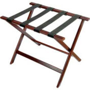 Economy Flat Top Wood Luggage Rack, Cherry Mahogany, Black Straps 1 Pack