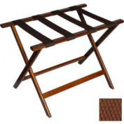 Economy Flat Top Wood Luggage Rack, Dark Oak, Brown Straps 6 Pack - Pkg Qty 6