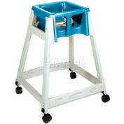 CSL KidSitter™ High Chair with Casters, Beige Frame/Blue Seat