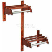 "36"" ADA Stylish Wood Coat Rack w/ Wood Top Bars & 5/8"" Mini Rod, Dark Oak"