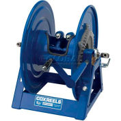 "Dual Hydraulic Hose Spring Rewind Reel 1/4"" I.D., 135' Cap., W/ Outlet Options: Geared Crank"