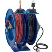 "Dual Purpose Electric/Air Spring Rewind Reel: 50' 3/8"" I.D. Hose, 300 PSI; Quad Receptacle, 12 AWG"