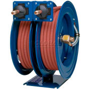 "Dual Purpose Spring Rewind Hose Reel For Air/Water: 1/4"" I.D., 25' Hose Each, 300 PSI"