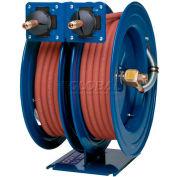 "Dual Purpose Spring Rewind Hose Reel For Air/Water/Oil: 1/2"" I.D., 25' Cap. Each, Less Hose, 300 PSI"