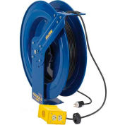 Coxreels EZ-PC13-5012-B Safety Series Spring Rewind Power Cord Reel: Quad Industrial 50' Cord,12 AWG