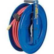 """EZ-Coil Spring Rewind Hose Reel For Air/Water: 1/4"""" I.D., 25' PVC Hose, 300 PSI, Left Mount"""