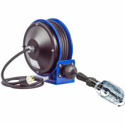Coxreels PC10-3016-E Compact Efficient Heavy Duty Power Cord Reel w Incand Caged Drop Light w/ Tap