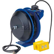 Coxreels PC19-7512-B Power Cord Spring Rewind Reel: Quad Industrial Receptacle, 75' Cord, 12 AWG