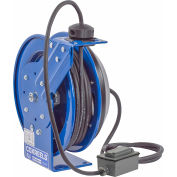 Coxreels PC19-7512-F Power Cord Spring Rewind Reel: Duplex GFCI Industrial Outlets, 75' Cord, 12 AWG