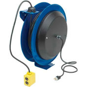 Coxreels PC24-0012-B Power Cord Spring Rewind Reel: Quad Industrial Receptacle, 100' Cord, 12 AWG