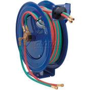 "Dual Hose Spring Rewind Hose Reel For Oxy-Acetylene: 1/4"" I.D., 50' Cap., Less Hose, 200 PSI"