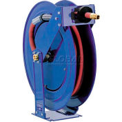 "Supreme Duty Spring Rewind Hose Reel For Grease/Hydraulic Oil: 3/8"" I.D., 50' Hose, 5000 PSI"