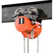 CM Cyclone Hand Chain Hoist on Low Headroom Plain Trolley, 1 Ton, 20 Ft. Lift