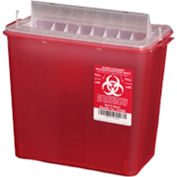 Plasti-Products 145008 8-Quart Sharps Container, Horizontal Entry, Red, Case of 20