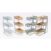 "Cal-Mil 1235-13-60 3 Tier Flatware Display With Bamboo Bins 5-1/4""W x 14""D x 18""H Black"