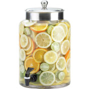 "Cal-Mil 1748-2 Round Glass Infusion Dispenser with S/S Top 2 Gallon 8-1/2""W x 13-3/4""D x 13-3/4""H"