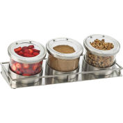 "Cal-Mil 1850-4-55 Mixology 3 Jar Display For 16 Oz. Jars S/S Lids 13-3/8""W x 4-7/8""D x 4-3/4""H"