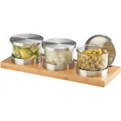 "Cal-Mil 1850-4-60 Bamboo Jar Display with Solid Lid 16""W x 6""D x 4""H"
