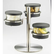 """Cal-Mil 1855-4-55 Mixology 3 Tier 16 Oz. Jar Holder with Stainless Steel Lids 14""""W x 11""""D x 11-1/4""""H"""