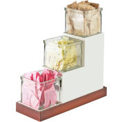 """Cal-Mil 3003-55-12 Luxe Stair Step Jar Display SS Accent with Glass Jars 4-1/2""""W x 12-3/16""""D x 9""""H"""