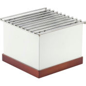"Cal-Mil 3011-55 Luxe Chafer Alternative 12"" x 12"" White and Stainless Steel"
