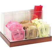 "Cal-Mil 3013-55 Luxe Condiment and Stir Stick Organizer White and SS 8-3/4""W x 6""D x 5""H"