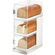 "Cal-Mil 3021-55 Luxe Three Tier Bread Display White and Stainless Steel 7""W x 14""D x 20-1/4""H"