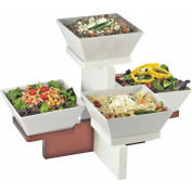 """Cal-Mil 3024-55 Luxe Multi Level 4 Bowl Display White and Stainless Steel 20""""W x 16""""D x 13-1/2""""H"""