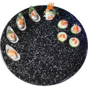 """Cal-Mil SS230-31 - Round Simulated Stone Tray 23"""" Dia. x 1/2""""H Black"""