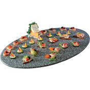 "Cal-Mil SS312-30 Oval Simulated Stone Tray 31""W x 19""D x 1/2""H Grey"