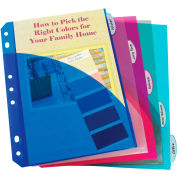C-Line Products Mini Size 5-Tab Poly Index Dividers, Assorted Colors with Slant Pockets, 60/Set