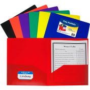 C-Line Products 2-Pocket Heavyweight Poly Portfolio Folder w/ Business Card Holder, Assorted Colors - Pkg Qty 18