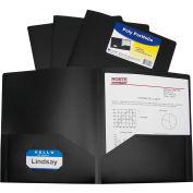 C-Line Products Two-Pocket Heavyweight Poly Portfolio Folder, Black - Pkg Qty 18
