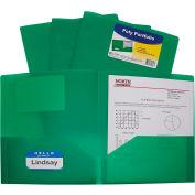 C-Line Products Two-Pocket Heavyweight Poly Portfolio Folder, Green - Pkg Qty 18