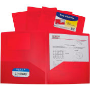 C-Line Products Two-Pocket Heavyweight Poly Portfolio Folder, Red - Pkg Qty 18