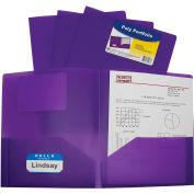 C-Line Products Two-Pocket Heavyweight Poly Portfolio Folder, Purple - Pkg Qty 18
