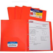C-Line Products Two-Pocket Heavyweight Poly Portfolio Folder with Prongs, Orange - Pkg Qty 12