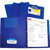 C-Line Products Two-Pocket Heavyweight Poly Portfolio Folder with Prongs, Blue - Pkg Qty 12