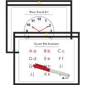 C-Line Products Horizontal Reusable Dry Erase Pocket, Black, 12 x 9 - Pkg Qty 10