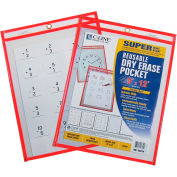 "C-Line Products Reusable Dry Erase Pocket, Neon Red, 9"" x 12"", 30 Erase Pockets/Set"