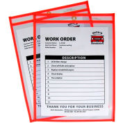 C-Line Products Neon Shop Ticket Holder, Orange, Stitched, Both Sides Clear, 9 x 12, 15EA/BX