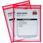 C-Line Products Neon Shop Ticket Holder, Red, Stitched, Both Sides Clear, 9 x 12, 15EA/BX