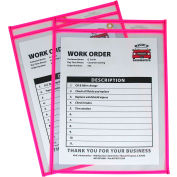 C-Line Products Neon Shop Ticket Holder, Pink, Stitched, Both Sides Clear, 9 x 12, 15EA/BX
