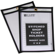 C-Line Products Shop Ticket Holders, Stitched, Both Sides Clear, 5 x 8, 25/BX
