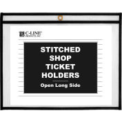 C-Line Products Shop Ticket Holders, Stitched, Both Sides Clear, Open Long Side, 11 x 8 1/2, 25/BX