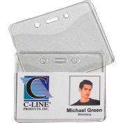 C-Line Products Heavy Duty Badge Holders, Vinyl, Horizontal, 2 3/8 x 3 3/8, 100/BX