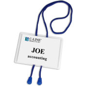 C-Line Products Hanging Syle Name Badge Kit w/Adjustable Bolo Cord, Executive Style, 4 x 3, 25/BX