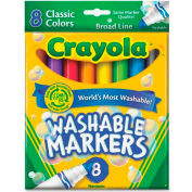 Crayola® Washable Markers, Conical Tip, Nontoxic, Assorted, 8/Set