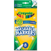 Crayola® Washable Markers, Fine Tip, Nontoxic, Assorted, 8/Set