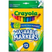Crayola® Washable Markers, Fine Tip, Nontoxic, Assorted, 12 /Set